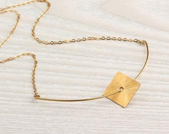 "Gold square necklace, curved bar necklace, diamond shape necklace, geometric necklace, brushed gold necklace, graduation gift, ""Nereids"""