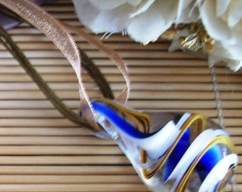 Murano glass swirl teardrop pendant on organza cord necklace - Murano glass teardrop pendant necklace - Murano teardrop pendant