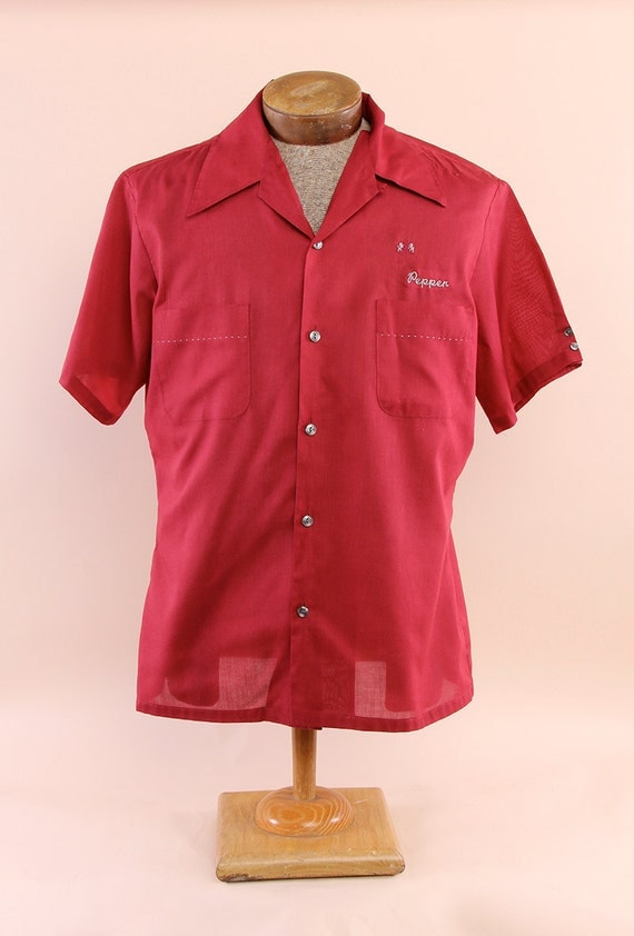 Men's Red Vintage Bowling Shirt with Embroidery Pepper