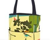 Womens handmade fabric handbags, yellow birds, large handbags, beach bags, YMF Handbags