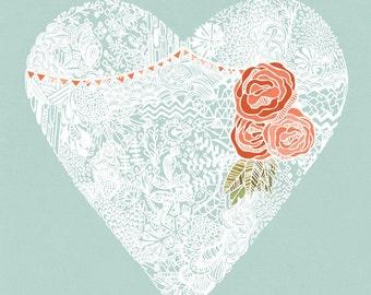 Floral Heart Illustration - Archival Art Print