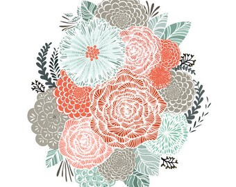 Mint and Coral Floral Illustration - Archival Art Print