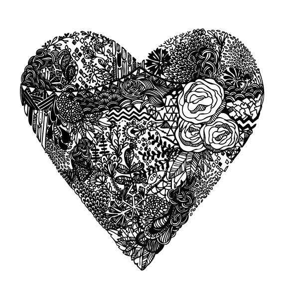 Black and White Floral Heart Illustration - Archival Art Print