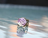 FLOWER RING Antique Bronze with deep purple resin flower and small crystal AB