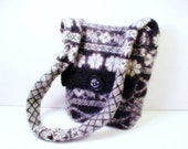 Fair Isle Messenger Bag, Purse, Felted Wool, Upcycled Sweater, Gray, Black, White, Shoulder Bag, Across the Body Bag, Fair Isle, Felted Wool