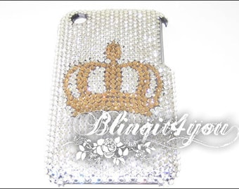 Rhinestone Shinny Bling Diamond Gold Princess Crown Tiara Back Case for iPhone 5 6 7 Plus Handmade w/ SS 12 100% Swarovski Crystal Elements