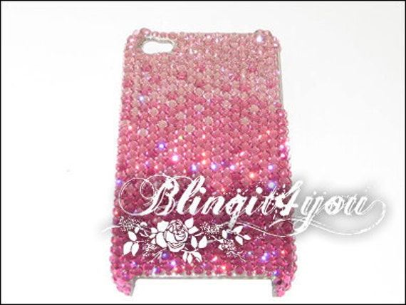Rhinestone Diamond Bling Light To Dark Pink Back Case Cover for new iPhone 5 5S 5C 6 6 Plus Handmade with 100% Swarovski Crystal Elements