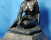 Art Deco 1920s Vienna Bronze Sculpture |  Nude Flapper Woman by T.H. Ullmann Vintage Collectible Art