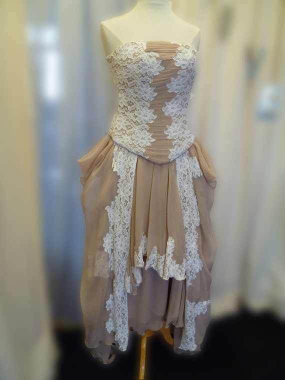 Nude chiffon and cream lace corset and hankerchief bottom skirt.  Ready to ship