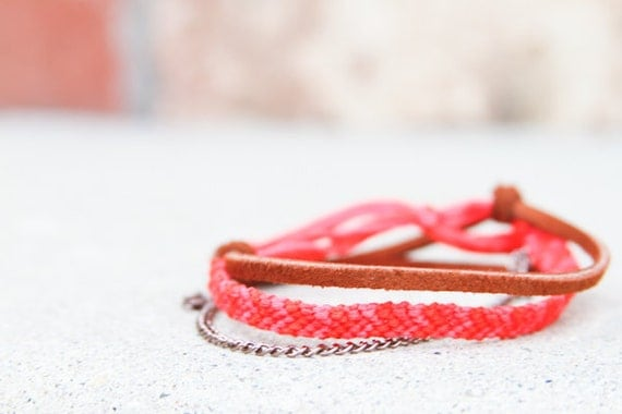 Red and Pink Chevron Adjustable Bracelet