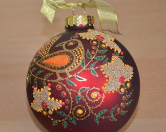 Hand Painted Ornament with Bird