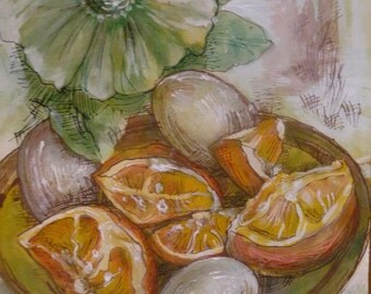 Original Water Color and Ink Painting of Oranges and Eggs, Medium Size Wall Art, Kitchen Wall Decor, Original Painting in Orange and Cream