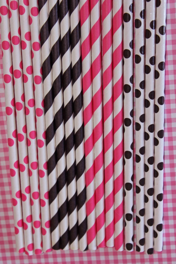 Items similar to 100 hot pink black stripe polka dot for Dots and stripes party theme