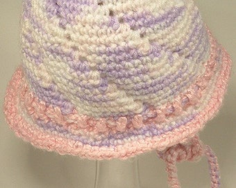 Baby Girl Toddler Hat Cap Pink White Lilac Fleece Layer Spring Blossom