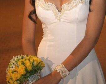 PEARL CUFF BRACELET, Beaded Cuff Bracelet, Arm Cuff Bracelert, Bridal Cuff Bracelet, Lace cuff Bracelet, Wedding Cuff Bracelet - Dafna