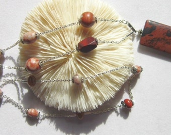 Snowflake Jasper Necklace with Pink Rhodonite and Silver Plated Cable Chain  ID 199