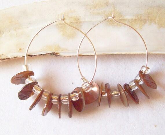 Crystal Seed Bead Hoop Earrings with Amethyst Dyed Mussel Shell Disks, Purple Hoop Earrings  ID 154