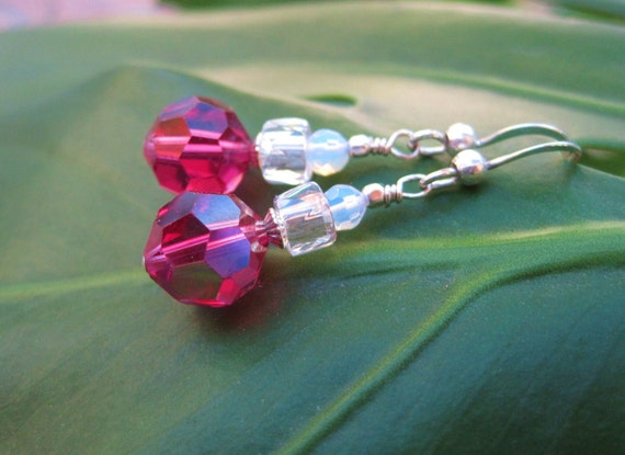 Fuchsia Freeze Earrings - Free Shipping - Vintage Beads ~ Hot-Pink Crystals, Opalite, Clear Crystals ~ w Sterling Silver Ear Wires