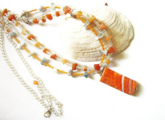 Triple Strand Necklace Crab Fire Agate and Fire Opal and Red Adventurine with Silver and Orange Seed Bead Necklace   ID 207