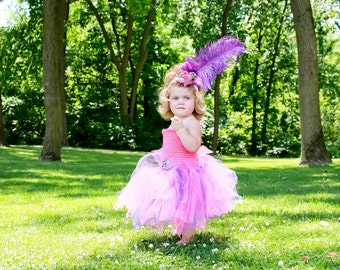 Toddler Tutu Dress & Mini Top Hat Pink and Purple Mad Hatter Alice In Wonderland Childs Tutu Dress Baby Girl Tutu Dress Pageant Tutu Dress