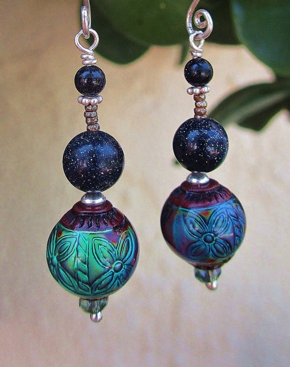 Midnight Mood Earrings - Color-Changing Mood Beads w Blue Goldstone, Antique Cut Steel Beads, Crystals & Handmade Sterling Silver Ear Wires