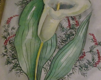Original Watercolor - Calla Lily - Charming Framed Vintage Floral Painting Signed Helené