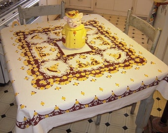 Vintage Tablecloth Sweetest Southern Belles In the Rose Garden