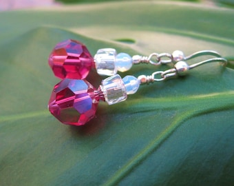 Fuchsia Freeze Earrings - Vintage Made Modern: Hot-Pink AB Crystals, Opalite Beads & Czech Glass Beads w Sterling Silver Ear Wires