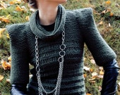 NB: Green Color Not Available Womens spring summer hand knit sweater olive green military modern fashion geometric origami