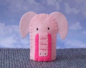 Pink Elephant Finger Puppet - Elephant Puppet - Felt Animal Finger Puppet - Felt Puppet Elephant Pachyderm