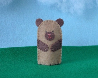 Little Brown Bear Felt Finger Puppet - Felt Bear Puppet - Felt Finger Puppet Bear - Felt Animal Puppet - Animal Puppet