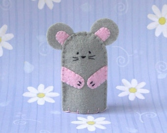 Grey Mouse Finger Puppet - Felt Mouse Puppet - Felt Finger Puppet Mouse