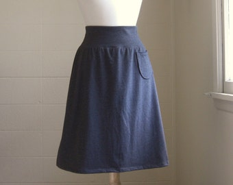 Grey Aline Skirt Cotton Jersey Knit Pull on knee length Skirt with a Pocket - Made to Order