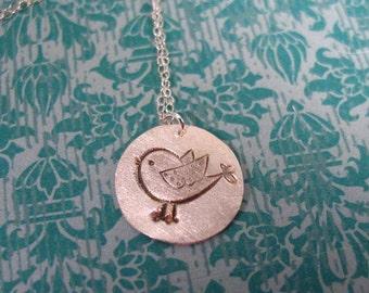 silver bird necklace - bird necklace - bird charm necklace - sterling silver bird necklace - bird pendant - bird jewelry