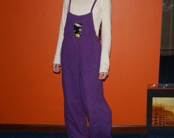 cosmic coveralls - one of a kind outer space overalls jumper hand dyed in plum violet - medium large tall