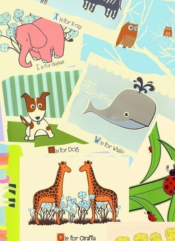 Nursery Art Prints - Choose Any 3 Alphabet Prints:  Animal Art Print Poster - Childrens Room Screen Print Wall Art Decor -