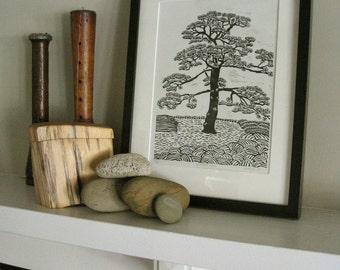 JAPANESE PINE TREE - Linocut Print - Black and White Landcsape Print 9x13 - Ready to Ship