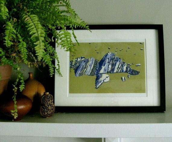 "LINO PRINT - Rocks at Mabou Coal Mines Beach - Cape Breton Beach Print 10x13"" - Ready to Ship"