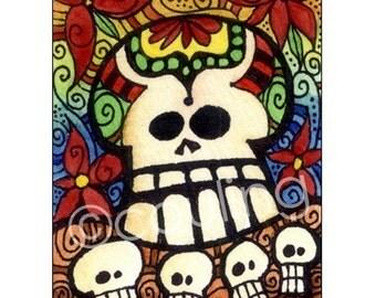 Day of the Dead Art - Dia De Los Muertos Sugar Skulls - Halloween ATC / ACEO Print by Artist Cindy Couling