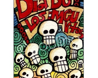 Day of the Dead Art - Sugar Skulls on Dia De Los Meurtos / Halloween ATC / ACEO Print by Artist Cindy Couling