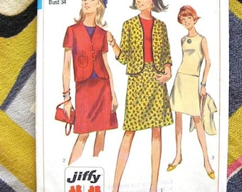 60s Simplicity 7171 Vintage Sewing Pattern - A Line Skirt - Jacket - Blouse - Uncut Jiffy Pattern - Bust 34