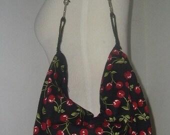 Retro Inspired Cherry Shoulder Handbag Adjustable strap Large Handbag