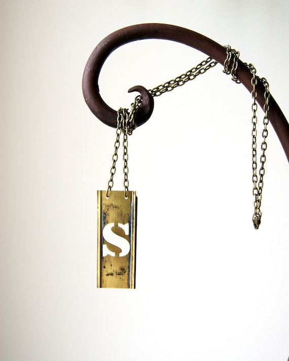 Initial Necklace - vintage brass stencil letter  - S - other numbers and letter available