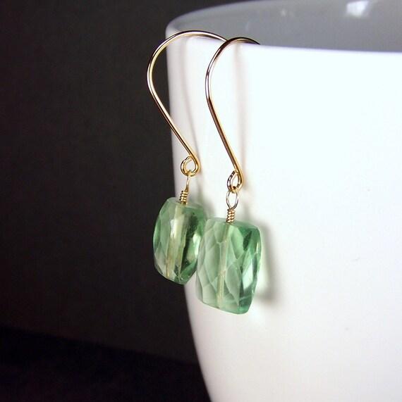 Gold & Green Gemstone Earrings Genuine Fluorite Earrings Spring Green Dangle Earrings Mint Green Casual Earrings Ample Goddess Jewelry