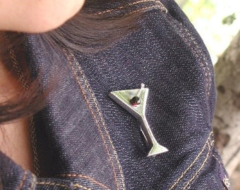 Martini Pin With Jade Olive Sterling Silver Original Handcrafted Modern Design. Perfect For Gift