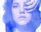 Water Color Stains 2 - FREE SHIPPING - Print Girl Portrait Face Eye Hand Blue White Splatter Ink Surreal Watercolor Photo Art