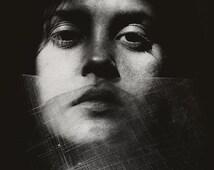 Split 2 - FREE SHIPPING - Surreal Photo Print Broken Plastic Face Black & White Portrait Gray Grainy Shadow Dark Art Wall Decor Photography