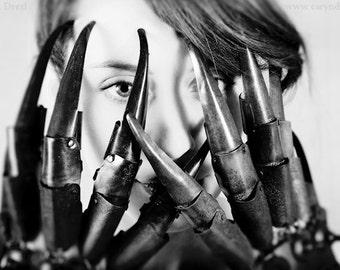 All Girls Have Claws - FREE SHIPPING Print Metal Gloves Hands Black White Gray Eyes Creepy Surreal Photo Art Portrait