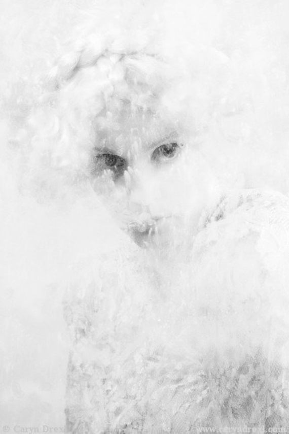 Snow White - FREE SHIPPING - Print Eyes Flour Dust Powder Black White Gray Girl Face Plastic Strange Surreal Creepy Hiding Hidden Portrait