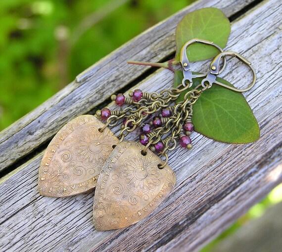 garnet and bronze dangle earrings. OOAK artisan earrings. mehndi inspired bohemian earrings.